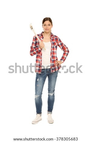 painter woman - stock photo