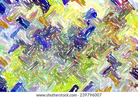 Painterly abstract of pastel streaks and dots in a wavy pattern on white, for decoration and background - stock photo