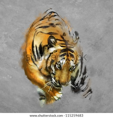 painting a tiger on the wall - stock photo