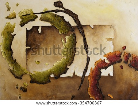 Painting abstract forms with texture on canvas - stock photo