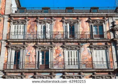 Painting adorning the section of the Plaza Mayor known as Casa Panaderia, Madrid. Spain - stock photo