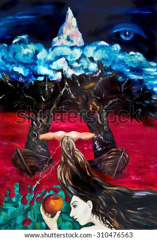 Painting. Allegory of world history - stock photo