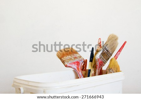 painting brushes on white background - stock photo