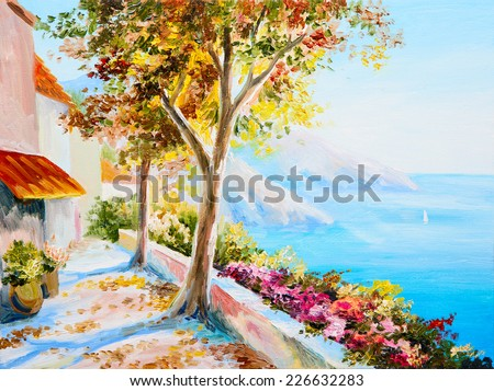 painting - house near the sea, seascap, colorful impressionism - stock photo