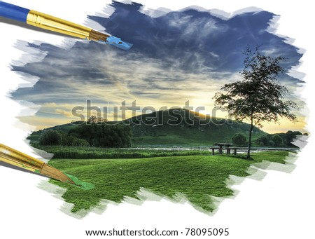 Painting idyllic castle landscape - stock photo