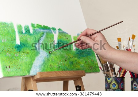 painting image with oil paint - stock photo