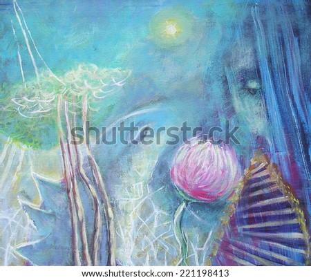 Painting Morning  pink flower dialog girl dragon. Interior decor. - stock photo