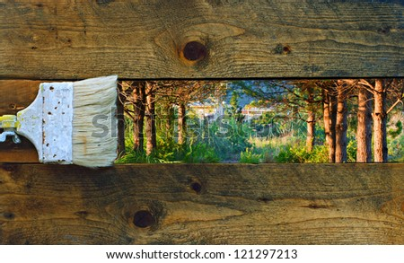 Painting nature on old rustic wooden boards - stock photo