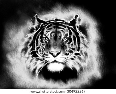 painting of a bright mighty tiger head on a soft toned abstract background eye contact. Black and white. - stock photo
