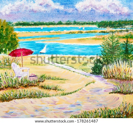Painting  of a relaxing view of a lake - stock photo