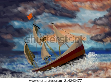 Painting of a ship in the storm - stock photo