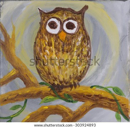 Painting of a surprised looking owl with big round eyes coloured in brown sat on branch with some creepy crawlers on acrylic  - stock photo