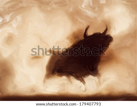 Painting of an angry bull with copy-space - stock photo