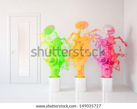 Painting of an room. Renovation home - stock photo