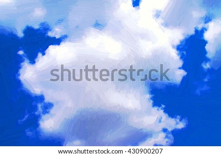 Painting of blue sky with cloud - stock photo