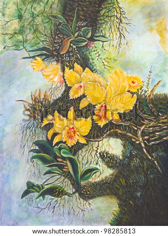 Painting of bright orchid - stock photo
