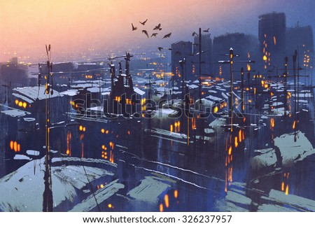 painting of city snowy winter scene,rooftops covered with snow at sunset - stock photo