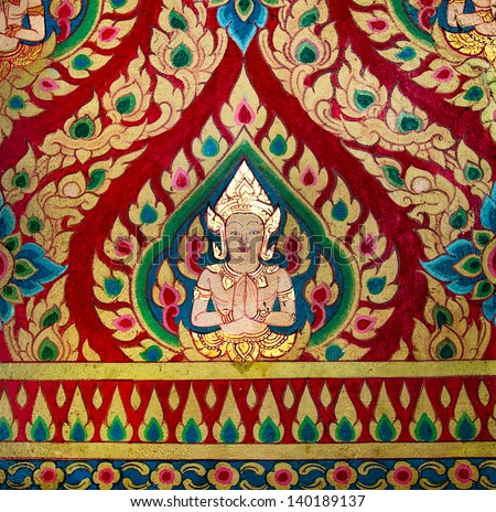 Painting of deva on wall in the temple.This is traditional and generic style in Thailand. No any trademark or restrict matter in this photo. - stock photo
