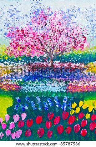 painting of flowers field and tree - stock photo