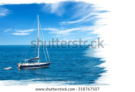 Painting of luxury yacht in open waters with beautiful clouds and copy space - stock photo
