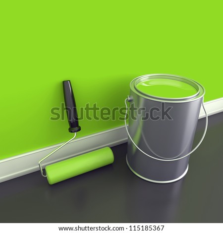 Painting of walls in a green paint. Decorating of house. 3d render - stock photo