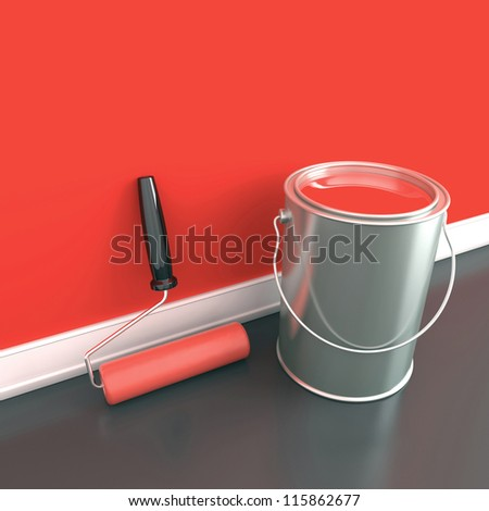Painting of walls in a red paint. Decorating of house. 3d illustration - stock photo