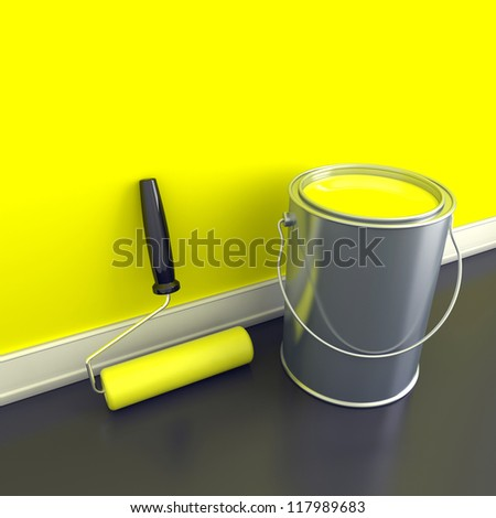 Painting of walls in a yellow paint. Decorating of house. 3d illustration - stock photo