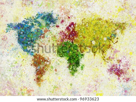 painting of world map on hand made paper - stock photo