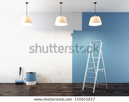 Painting on wall - stock photo