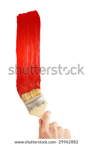 Painting red line - stock photo