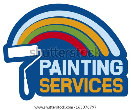 painting services label (painting services symbol) - stock photo