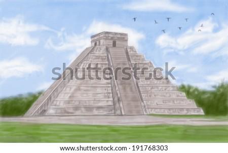 painting style illustration of Chichen Itza Mayan - stock photo