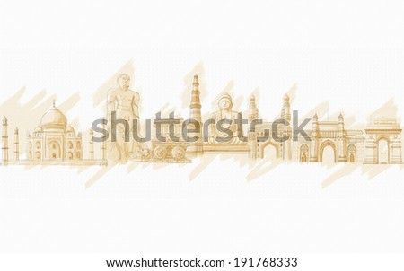 painting style illustration of Indian Monment - stock photo