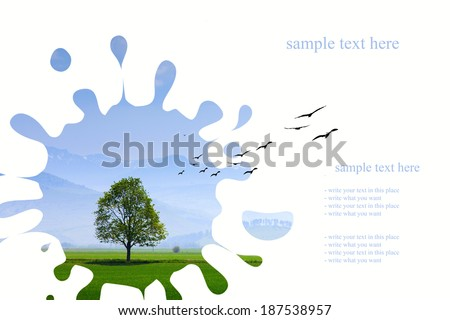 Painting summer landscape with blue sky and single tree with mountains in background - stock photo