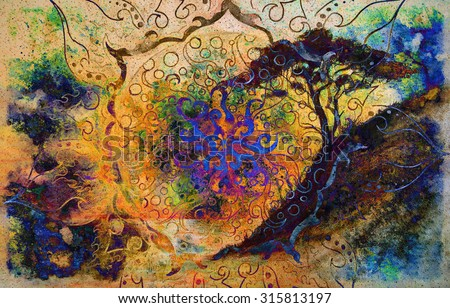 Painting sunset, sea and trees, wallpaper landscape and ornamental mandala. Oriental background collage. - stock photo