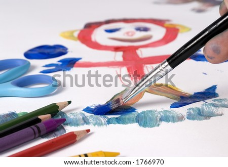 Painting the family portrait - stock photo