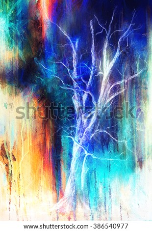 Painting tree in night landscape and abstract grunge background with spots, original hand draw and computer collage. - stock photo