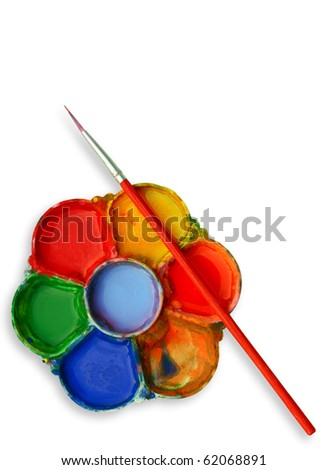 Paints and brush - stock photo