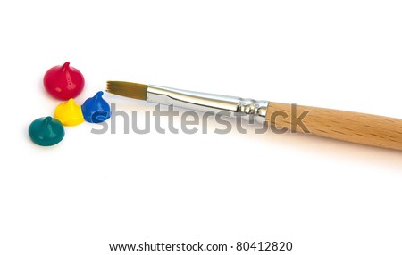 Paints and brush, drops of paint, colors - stock photo