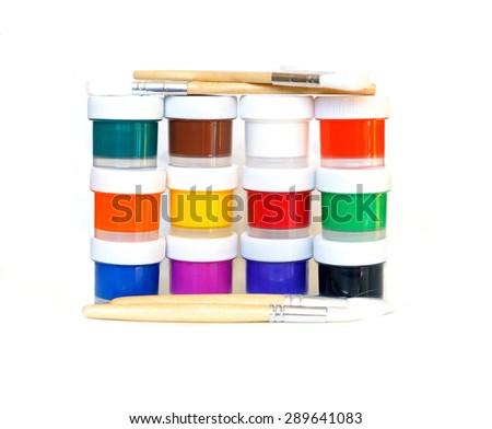 paints and brush isolated on white background - stock photo