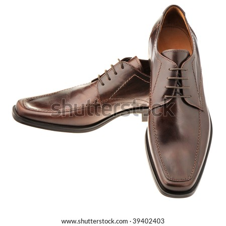 Pair a shoe a brown leather. Man's shoes isolated on a white background - stock photo