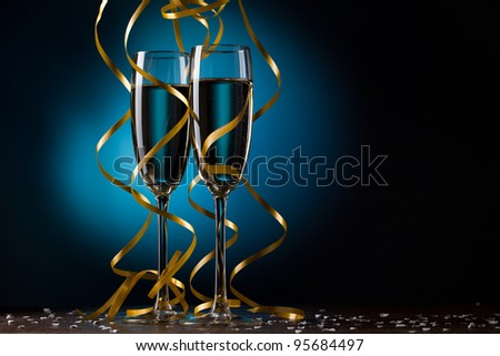 Pair glass of champagne - stock photo