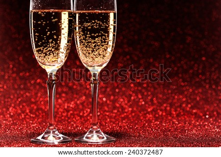 Pair glass of champagne. studio shot. valentine day concept - stock photo