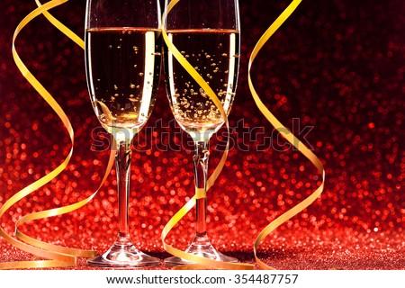 Pair glass of champagne. studio shot. valentine day concept - stock photo