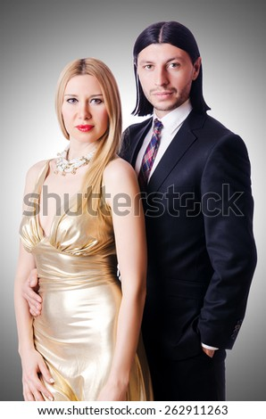 Pair in romantic love concept - stock photo