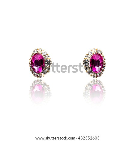 Pair of amethyst diamond earrings isolated on white - stock photo