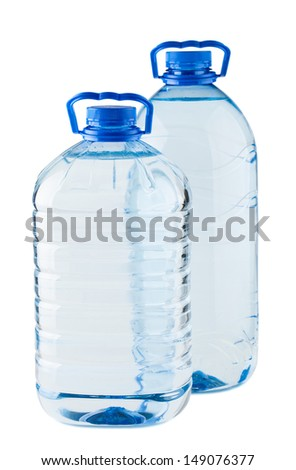 Pair of big water bottles isolated on white background - stock photo