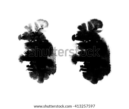 Pair of black and white abstract hand painted watercolor stains, abstract watercolor elements - stock photo