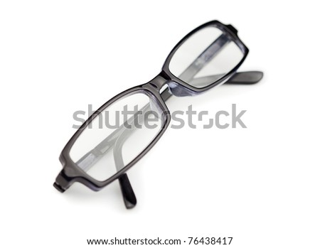 Pair of black glasses isolated on a white background - stock photo