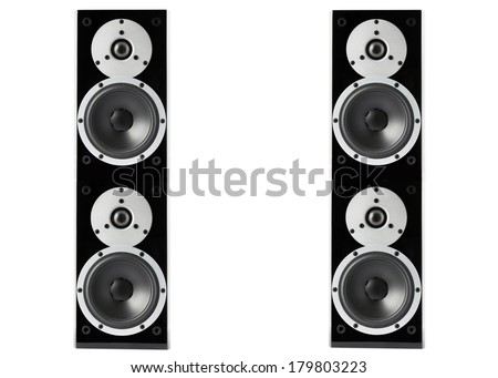 Pair of black high gloss music speakers isolated on white background - stock photo